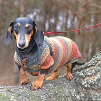 Striped  dog Sweater Clothes Hand Knitting  dachshund medium dog  red brown