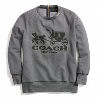 horse and carriage sweatshirt with leather