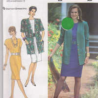 Pattern for straight, semi-fitted dress with cap sleeves and loose fitting cardigan jacket misses size 16 18 20 22 24 Simplicity 7101 UNCUT