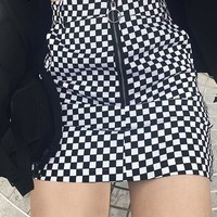 last lap checkered plaid mini skirt