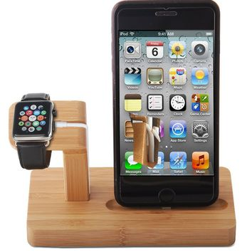 Bamboo Wood Charging Station, 2 in 1 Creative Stand for Apple Watch Iphone Wooden Bamboo Watch Display Charging Stand, Dock Desk Holder for iPhone iWatch & iPad