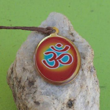 Om Necklace, Shiva Necklace: Om and Lord Shiva Dual-Sided Pendant on Hemp Cord, Yoga Jewelry, Yoga Gift