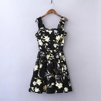 Black Floral Print Sleeveless A-Line Dress