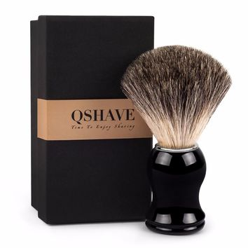 Qshave Man Pure Badger Hair Shaving Brush Wood 100% Original for Razor Edge Safety Straight Classic Safety Razor 11.5cm x 5.2cm