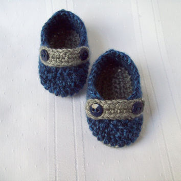 Crochet Baby Button Loafers, Blue and Grey, Newborn Crochet Baby Boy Shoes, Baby Boy Loafers