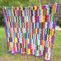 "Colorful crochet afghan blanket throw with multicolored chevrons zig zag pattern and purple ruffle border 75"" x 73"""