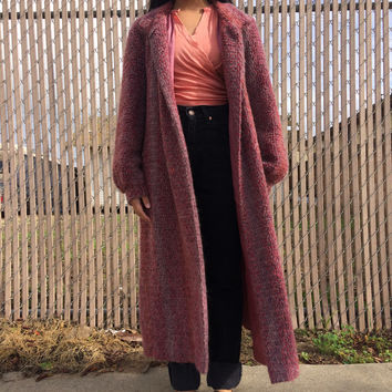 Vintage long coat, mauve, size medium