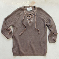 Stevie Lace-Up Sweater in Olive