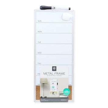 Aluminum Dry Erase Weekly Calendar with Bulletin Strip