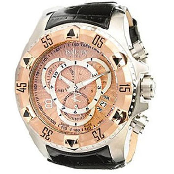 Invicta 11013 Men's Reserve Excursion Rose Gold Tone Bezel Rose Gold Tone Dial Leather Strap Chronograph Dive Watch