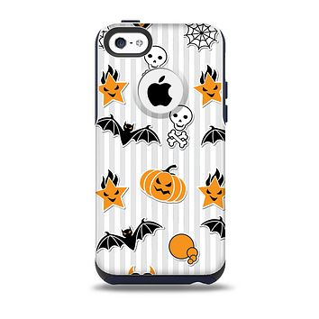The Halloween Icons Over Gray & White Striped Surface   Skin for the iPhone 5c OtterBox Commuter Case