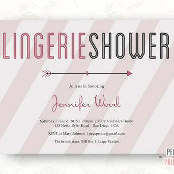 Printable Lingerie Shower Invitation, Pink and Gray Lingerie Party Invitation, Lingerie Shower Invites, Bachelorette Party Invitation