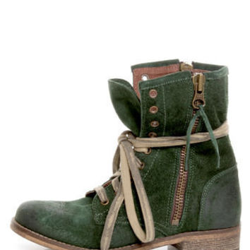 MTNG Hydra 54952 Wax Green Suede Lace-Up Ankle Boots - $139.00