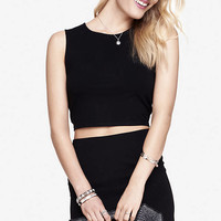BLACK STRETCH COTTON MUSCLE TANK from EXPRESS