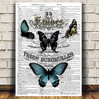Butterfly poster Dictionary print Insect print Nature decor RTA840