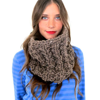 Chunky Soft Thermal Knit Cowl // Thermal Cowl in Woodland // Many Colors and Vegan Options Available