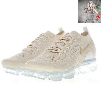 2018 Discount 942843-201 Nike Air Vapor Max Flyknit 2 Womens Sneakers Light Cream Gold White shoe