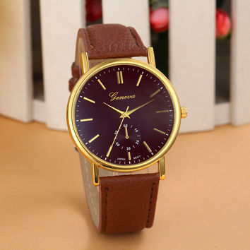 New 2015 Geneva Unisex Women Watches Men Watch Simple Classic Leather Montre Analog Quartz Vogue WristWatch Promotions