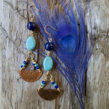 Southwest earrings, tribal, turquoise, lapis lazuli, hammered copper, patina, distressed, ethnic jewelry, boho earrings, indie