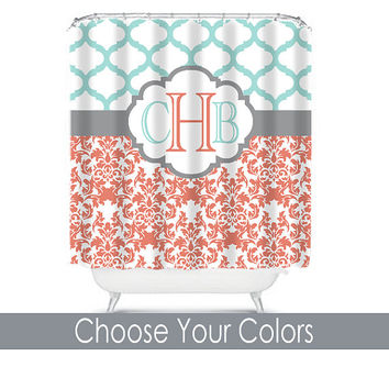 Damask Quatrefoil Shower Curtain Monogram Name CUSTOM Choose Colors Aqua Coral Pattern Bathroom Bath Polyester Made in USA
