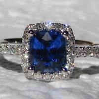 Ceylon Cornflower Blue Sapphire in White Gold Diamond Halo Engagement Ring [pr044] - $0.99 : Lowest price, Supply all kinds of cheap fasion jewelry at Cost21.com