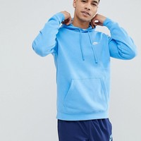 Nike Club Fleece Pullover Hoodie In Blue 804346-413 at asos.com
