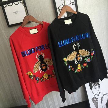 GUCCI Fashion Casual Straps Embroider Hooded Hoodies Sweatshirt Top