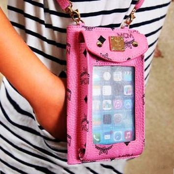 MCM Women Can Carry Mobile Phones Leather Zipper Purse Wallet Pink Iphone(Any model)