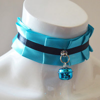 Ddlg choker - Beloved girl - kitten play kittenplay collar - neko lolita bdsm daddy kink necklace - turquoise blue and black with bell