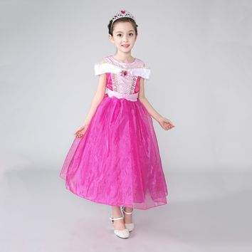 Princess Costume - Persian Pink Short Sleeve Bubble Gown Skirt Aurora Dress - 👗💘👑🎃👠