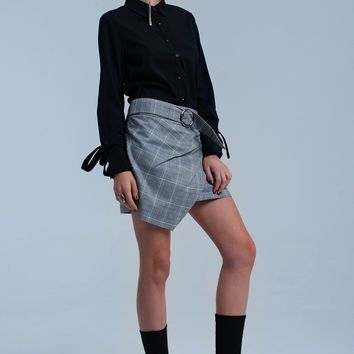 Red tartan pattern skirt with buckle