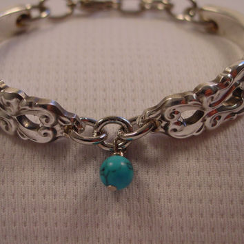 A SMALL Beautiful Spoon Bracelet King Frederik Pattern With Turquoise Bead Handmade Spoon and Fork Jewelry b33