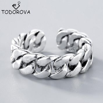 Todorova High Quality 925 Sterling Silver Jewelry Rope Link Chain Rings for Women Thai Silver Antique Silver Adjustable Rings