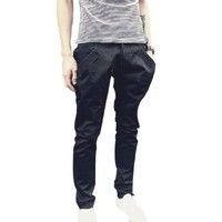 Allegra K Mens 2012 NEW Casual Slim Half Front Slant Pockets Long Trousers Black W33: Amazon.com: Clothing