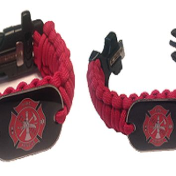 550 Paracord Firefighters Bracelet w/Dog Tag - Hand Made
