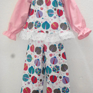 Girl's Size 4 Ruffled Flannel Pajamas, Girl's Size 5 Ruffled Pajamas, Ladybug Print,  Cute and Comfy!