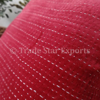 Kantha Handmade Cushion Cover , Velvet Cushion Cover, Red Color Theme, 40 x 40 Cms, Decorative Kantha Cushion, Handstiched Pillow Cover