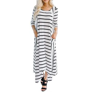 SHIPS FROM USA Chic Striped Maxi Dress SHIPS FROM USA