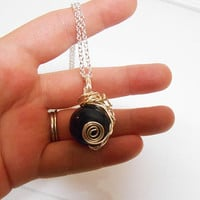 Once upon a time abc Regina Evil Queen Black and silver wire wrapped pendant necklace