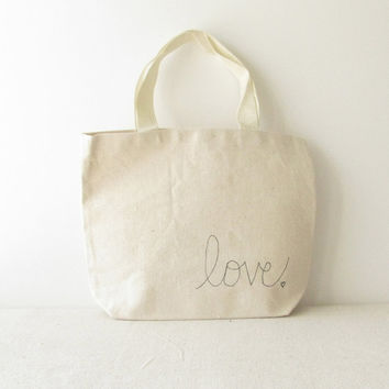 "Small Canvas Tote Bag - Love Tote Bag - Valentines Day Bag - Hand Written ""Love"" and small heart on 10 3/4"" x 8 1/4"" Tote Bag"