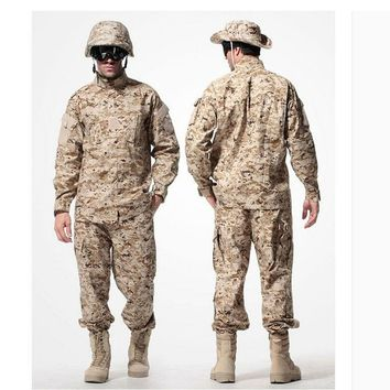 US Army Desert Tactical Military Camouflage Combat Uniform Airsoft Camo ACU Men  Clothing  Outdoor Hunting suits Jacket + Pants