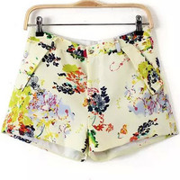 Yellow Pockets Floral Shorts