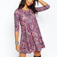 Boohoo Paisley Print Long Sleeve Swing Dress