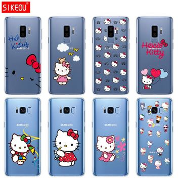silicone case for Samsung Galaxy S9 S8 S7 S6 edge S5 S4 S3 PLUS phone cover hello kitty coque funda