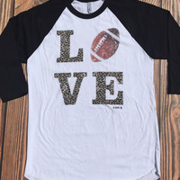 Leopard Love Football Raglan Baseball Tee (Small)