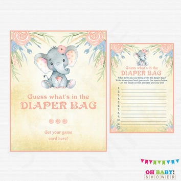 Elephant Baby Shower Girl, Guess What's in the Diaper Bag, Watercolor Elephant, Diaper Bag Game, Guessing Game, Download, Printables, ELWP