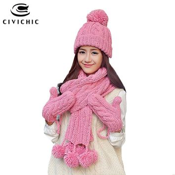 CIVICHIC Warm Gift Knit Hat Scarf Glove 3 Pcs Set Velvet Headwear Cap Thicken Mittens Lovely Pompons Shawl Crochet Beanies SH195