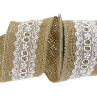 "2 1/2"" Burlap Ribbon with White Lace Center 