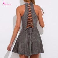 Lace Up Short Dress