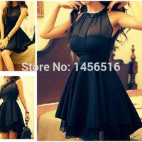 PRD403 Special occasion A line Chiffon above knee mini short vestido de festa curto 2016 Black cocktail dresses for party